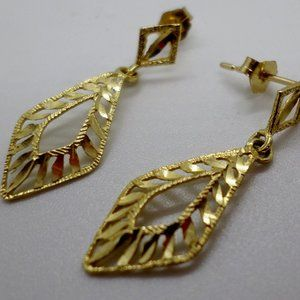 14K Earrings Solid Marked And Tested 1.5 Grams